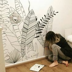 Kinderzimmer Paint wall Using Concrete for Interior Applications Concrete is an extraordinary materi House Drawing For Kids, Dream House Drawing, Mural Art, Wall Murals, Wall Art, Wall Painting Decor, Wall Decor, Baby Boy Rooms, Baby Room