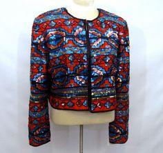 Vintage Tribal Bolero Jacket Beaded Sequined  by AustinModern, $225.00