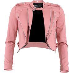 Fracomina Ester Jacket (625 BRL) ❤ liked on Polyvore featuring outerwear, jackets, coats, tops, vegan motorcycle jacket, vegan leather moto jacket, red jacket, cropped moto jacket and red moto jacket