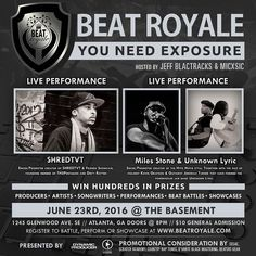 Tonight BEAT ROYALE returns to The Basement with a killer double Artist Soundstage. This month we have Emcee/Promoter and founding member of TH5Pentagon @Shredtvt1 coming to bless the stage. We also have the powerhouse jam band Unknown Lyric featuring @IAmMilesStone  violinist Kevin Grayson & Guitarist Jeremiah Turner all coming to rock out with us.  This epic night will be hosted by @MICxSIC and @Jeff Blactracks doors open to The Basement at 8:00pm. $10 At The Door. Get  There Early You…