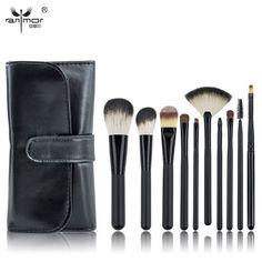 10 STKS Make Borstel Set Zwart Make Up Borstels Professionele Make Borstels Met Zwarte Tas