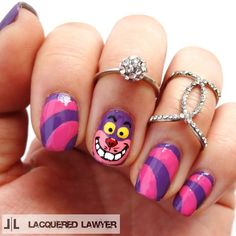 These Cheshire Cat nails are mad. . . mad awesome!