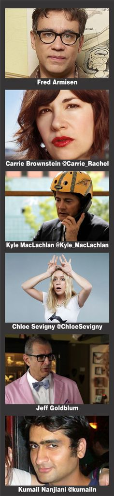 Recurring Stars for PORTLANDIA Season 3: Fred Armisen  Carrie Brownstein @Carrie_Rachel  Chloe Sevigny @ChIoeSevigny   Kyle MacLachlan @Kyle_MacLachlan   Jeff Goldblum  Kumail Nanjiani @kumailn