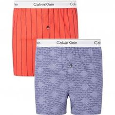 Calvin Klein Modern Cotton Slim Fit Woven Boxer 2-Pack, Wide Pinstripe/Cascading Logo Calvin KleinModern Cotton Slim Fit Woven Boxer 2-Pack,Wide Pinstripe/Cascading Logo Slim fit soft cotton boxers, comfortable fit, classic length, with room for ease and freedom of movement. Single button fly Calvin Klein signature logo stretch waistband for a Modern body-defining fit This CK Underwear is made from 100% Cotton