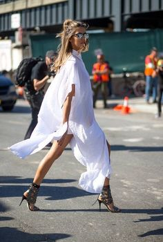 Flowy white dress with heels + outfit ideas + fashion inspiration + summer fashion + summer outfits