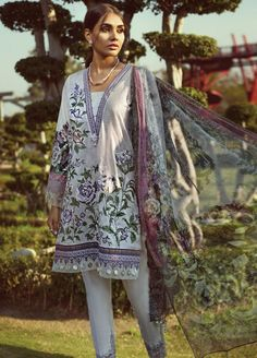 Jazmin by Baroque Embroidered Lawn Unstitched 3 Piece Suit 08 PANSY - Spring / Summer Collection Formal Pants Women, Pants For Women, Clothes For Women, Kids Nightwear, Only Clothing, Lawn Suits, 3 Piece Suits, Print Chiffon, Shirts For Girls