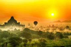 angel-kiyoss:  This is amazing sunrise in Bagan, Myanmar.