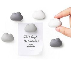 Amazing Novelty Fridge Magnets Cloud Magnets by Qualy Design Studio. Set of 6 Message Magnets. Cloud Magnets Gradual Colors from White to Dark Grey. Can be used in Office or at Home.