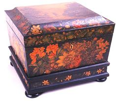 Painted tea chest, the landscape on the top attributable to Horatio McCulloch, circa 1835. The inside profusely painted with pictures of flowers and having four lift-out canisters and two cut-crystal bowls.