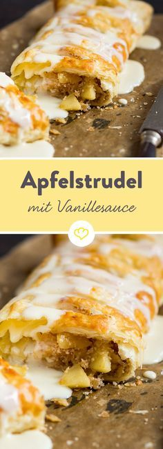 Luftiger Blätterteig, süße Apfel-Nuss-Füllung und dazu selbstgemachte Vanillesauce - wer kann diesem schnellen Apfelstrudel widerstehen?