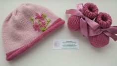 Spring Flowers;  my hand knitted merino-silk baby set with embroidered flowers. 0-3 month size