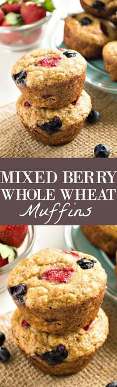 These healthy, EASY Mixed Berry Whole Wheat Muffins are the perfect breakfast recipe! Soft, fluffy muffins made with whole wheat flour, no refined sugars and loaded with fresh berries! I am so excited today to FINALLY be sharing these mixed berry whole wheat muffins with you!