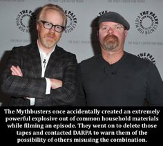 The time the Mythbusters created such a power explosion out of household items they deleted the episode about it Wtf Fun Facts, Funny Facts, Funny Quotes, Dark Humour Memes, Humor, Funny Images, Funny Pictures, Great Memes, Science