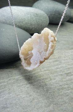 Druzy Necklace Rustic Geode Slice