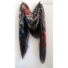 Modern Love Silk Georgette scarf in Zebra