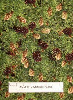 Timeless Treasures Pine Tree Cones Christmas Winter Holiday Cotton Fabric Yard | eBay -- $10.79
