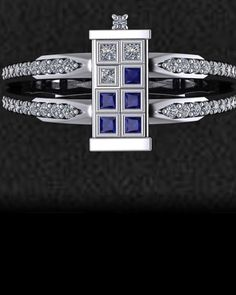 Here's a cool looking Doctor Who inspired TARDIS ring that comes from Etsy  user DTEK designs. If only wearing the ring allowed you to travel through space and time. The ring is made to order in platinum, white gold, rose gold, yellow gold,  or sterling silver.