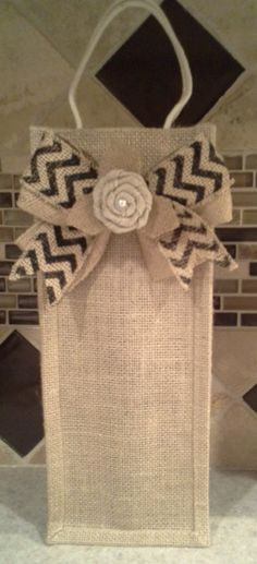 Burlap Wine Bag with Decorative Chevron Bow by DSKDesign on Etsy