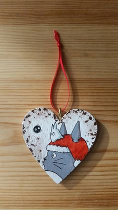 Addobbo natalizio dipinto Totoro di IsolaSospesa su Etsy
