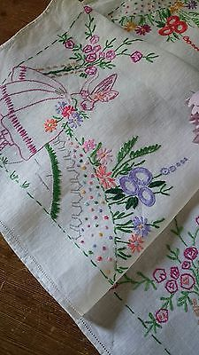 VINTAGE HAND EMBROIDERED IRISH LINEN TABLECLOTH ~ PRETTY CRINOLINE LADY