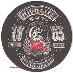 Miller High Life, Moon Logo, Harley Davidson Logo, Beer Coasters, Champagne, Artist, Artists