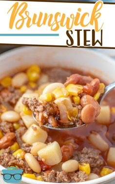 The Best Brunswick Stew recipe is a thick barbecue-flavored stew made with ground beef, potatoes, corn, beans and tomatoes. Chowder Recipes, Soup Recipes, Dinner Recipes, Chili Recipes, Slow Cooker Recipes, Crockpot Recipes, Cooking Recipes, Best Brunswick Stew Recipe, Country Cooking