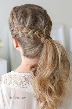 I love throwing my hair into a ponytail during the hot, summer heat. Tossing in two dutch braids is a super, simple way to make your everyday pony a little extra cute. This style works best on second or third day hair when it's a… Half Braided Hairstyles, Box Braids Hairstyles, Pretty Hairstyles, Hairstyle Ideas, Straight Hairstyles, Braid Styles, Short Hair Styles, Two Dutch Braids, Double Dutch Braid