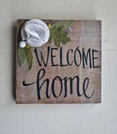 welcome Home Felt Flower Wood Sign - housewarming - wedding gift - mother's day - graduation -real estate - new home