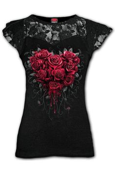 Bleeding Heart - Lace Layer... Cap Sleeve Top, Cap Sleeves, Gothic Tops, Dark Fashion, Heart Print, Black Tops, Layers, Fashion Outfits, Lady