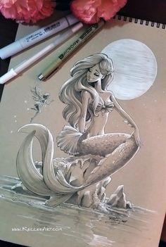 Sketched mermaid on toned paper and white gel pen. Mermaid by KelleeArt/Kellee Riley Mermaid Drawings, Mermaid Tattoos, Mermaid Art, Mermaid Sketch, Mermaid On Rock, Mermaid Tattoo Designs, Art And Illustration, Fantasy Kunst, Fantasy Art