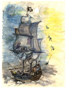 Hook's Ship illustration by Rozalind Best
