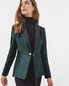 Velvet tux jacket - Jade   Tailoring   Ted Baker UK