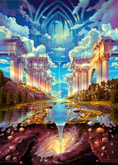 Ideas for trippy art universe spaces Fantasy Art Landscapes, Fantasy Landscape, Fantasy Artwork, Landscape Art, Beautiful Landscapes, Fantasy Places, Fantasy World, Fantasy Kunst, Anime Scenery