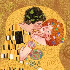 Version of Klimt's 'The kiss' by Ina Stanimirova Illustration Realistic Drawings, Cute Drawings, Kiss Illustration, The Kiss, Kiss Painting, Klimt Art, Whimsical Art, Embroidery Art, Cat Art