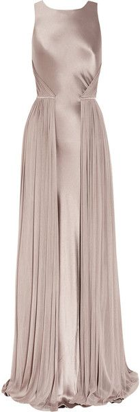 Amanda Wakeley Light Mauve Silk-satin and Mesh Gown. Style. Fashion. Nude Long Dress. Amazing.