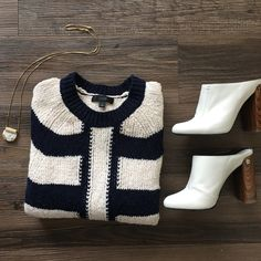 J.Crew striped sweater This navy and off-white striped sweater is in good condition; worn just a handful of times. The cotton linen blend means it's a great transitional piece! J. Crew Sweaters Crew & Scoop Necks