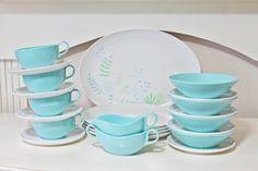 Retro Set of Melamine or Melmac Dishes in Aqua Turquoise Blue and White. $32.00, via Etsy.