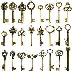 Large Antique Bronze Skeleton Keys Rustic Key for Wedding Decoration Favor, Necklace Pendants, Jewelry Making Key Decorations, Skeleton Decorations, Harry Potter Stickers, Harry Potter Decor, Skeleton Clock, Steampunk Accessoires, Diy Wings, Old Keys, Shabby