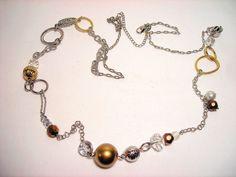 "Lia Sophia Crystal Bead Chain Necklace 44"" Long #LiaSophia #Chain"
