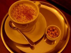 sahlep - delicious in winter.  like pudding, only not as thick... made from powdered orchid root.  topped with cinnamon.  Mmmmmm.