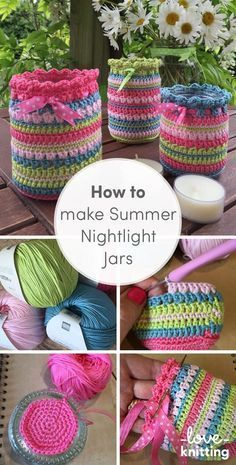 What better way to recycle your glass jars than to turn them into the prettiest of night light candle holders! Find the tutorial to make these lovely summer nightlight jars on the LoveCrochet blog.