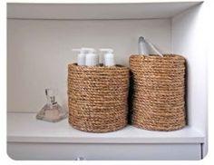Artesanato fácil e decoração com corda e cola quente - Organizadores de banheiro e lavabo cestinhos de corda ~ VillarteDesign Artesanato