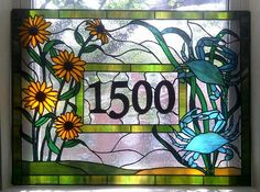 Stained Glass  Window Panel / Crabs and Black Eyed Susans/ Transom with House Numbers (AM-25). They can make me a glass office door.
