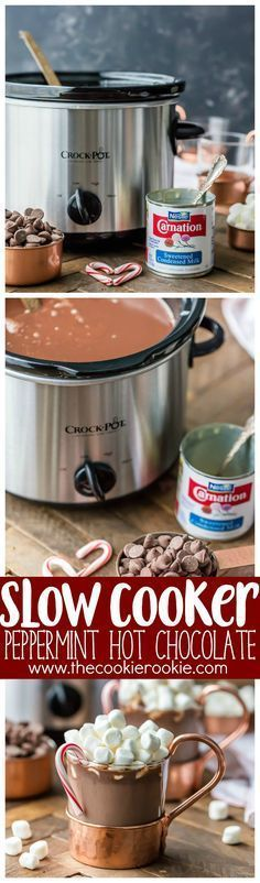 We LOVE Slow Cooker Peppermint Hot Chocolate! Made with sweetened condensed milk so its SUPER CREAMY crockpot hot chocolate. The perfect Winter drink for Christmas!