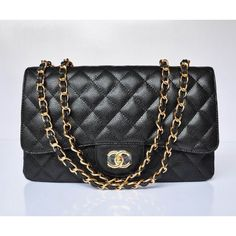 2013 Chanel 2.55 Soft Grained Black With Gold Chain Bag