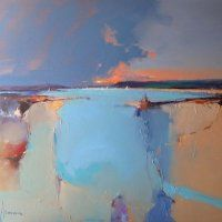 Sunset Over Loch Melfort, Pete Wileman Abstract Landscape Painting, Landscape Art, Landscape Paintings, Abstract Art, Contemporary Landscape, Beautiful Paintings, Painting Inspiration, Modern Art, Peter Wileman