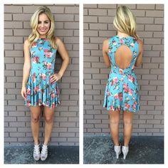 Blue floral open back dress