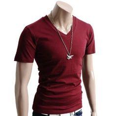 Mens Casual Short Sleeve Single Color V neck T-shirt (070D)