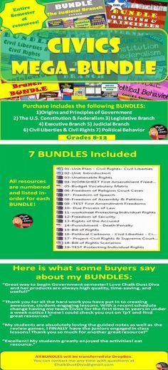 mega bundle for civics u s government grades 8 12 save