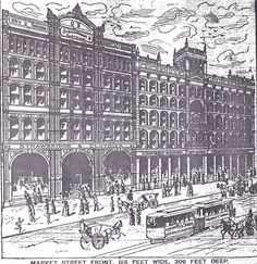 The Strawbridge and Clothier building - when it was brand new!  On Market Street, between 8th and 9th Streets.  From The Philadelphia Press; Tuesday, April 12th, 1887, Page 8.